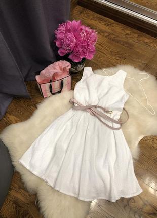 Белое короткое платье/ сарафан