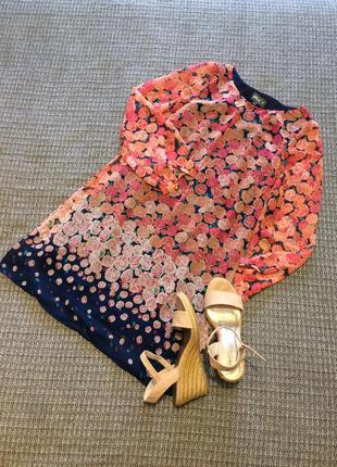 Платье в цветочный принт с длинным рукавом короткое средняя дл...