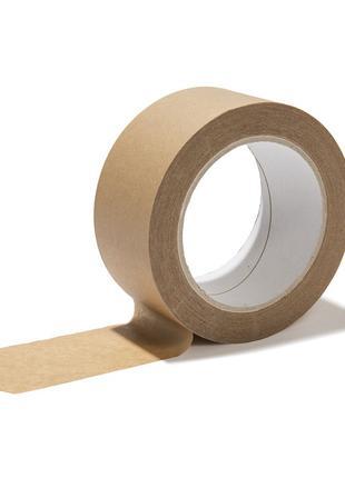 Крафтовый бумажный скотч 48 мм х 50 м, клейкая лента бумажная