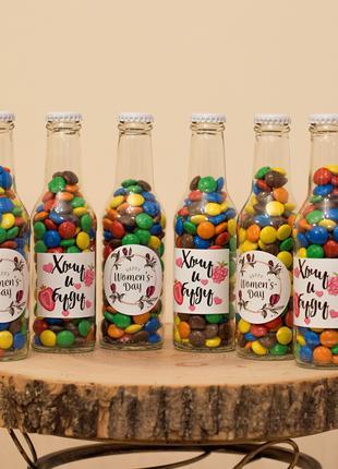 Бутылочка конфет M&M's. Подарок. Арахис, шоколад, драже, Ммс, Mms