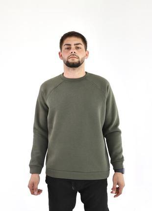 Мужской хаки базовый свитшот утепленный цвета милитари зеленый