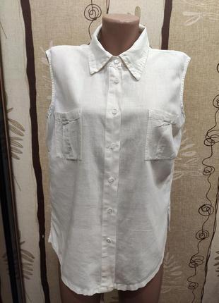 Bhs белая льняная рубашка - безрукавка