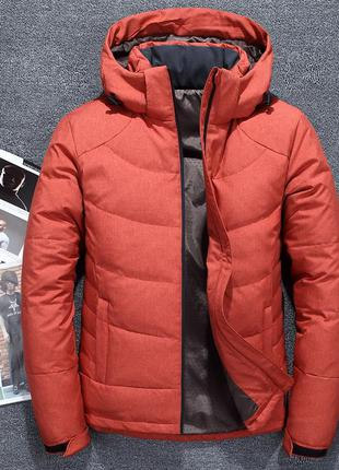 Мужская зимняя куртка пуховик jeep, оранжевый.