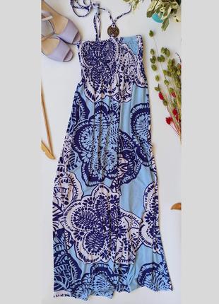 Блакитний сарафан. голубой длинный сарафан