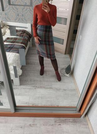 Шикарная шерстяная юбка миди в шотландскую клетку