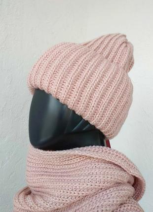 Тёплый и уютный комплект. шапка и снуд