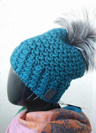 Зимняя шапка крупной вязки. натуральный помпон