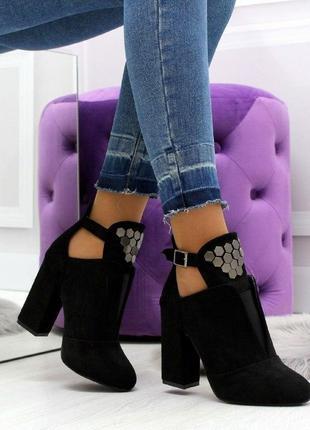 Новые женские осенние чёрные ботинки ботильоны