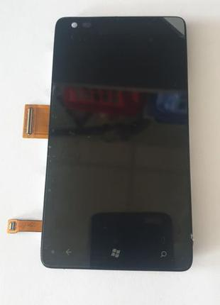 Дисплей Lumia 900 с сенсором и рамкой черный оригинал