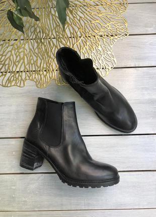 Globus кожаные удобные ботинки, челси на широком каблуке ботил...