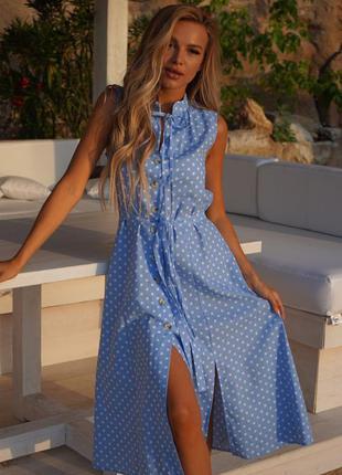 Платье лен принт горохи, в наличии расцветки и размеры