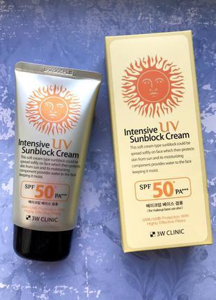 Солнцезащитный крем 3w clinic intensive uv sunblock cream spf50