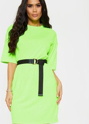 Неоновое зелёное платье футболка