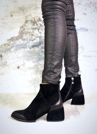 Осень натуральная замша шикарные ботинки с острым носком на уд...