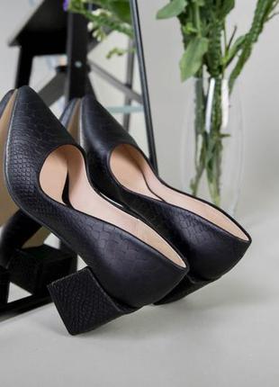 Туфли женские натуральные кожаные черные рептилия 💥