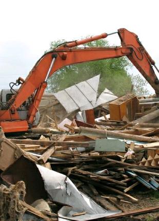 Демонтаж Снос стен домов расчистка участка убор