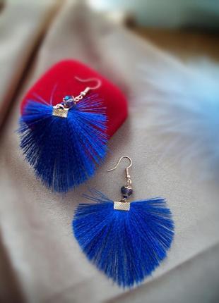 Серьги-веера в синем цвете- бесплатная доставка