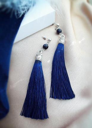 Сережки-китиці в темно-синьому кольорі з авантюрином - безкошт...
