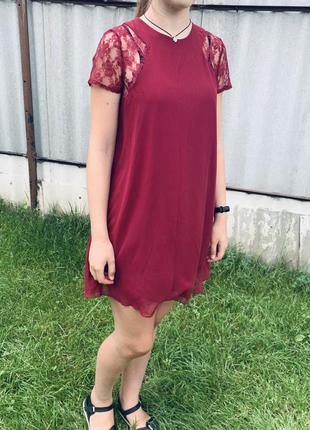 Платье трапеция с ажурными рукавами