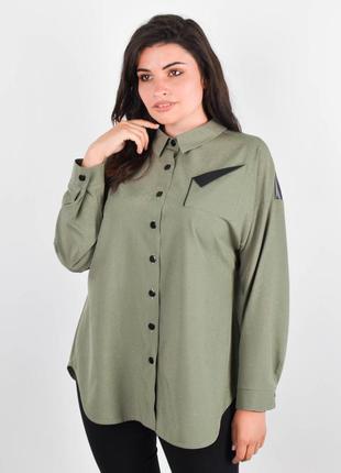 Женская рубашка больших размеров, жіноча біла сорочка батал, с...
