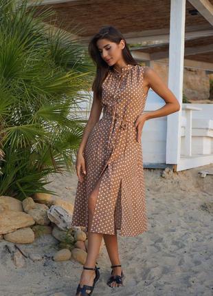 Платье миди лен принт горохи, в наличии расцветки и размеры