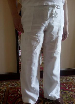 Белые льняные легкие летние брюки большого размера