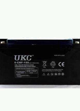Гелиевый аккумулятор BATTERY 12V 150A UKC (Реальная ёмкость -40%