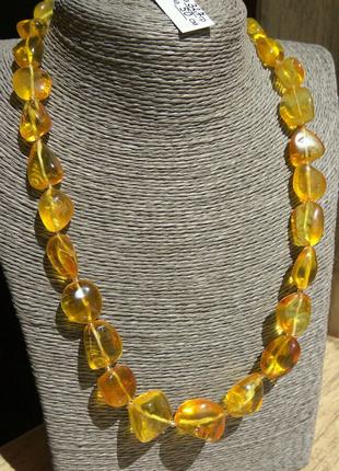 Эксклюзивные янтарные бусы из натурального прозрачного янтаря