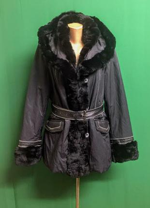 Демисезонная тёплая куртка с кожей и опушкой aleksandra