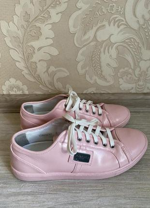 Dolce and gabbana оригинал италия кожаные розовые кеды