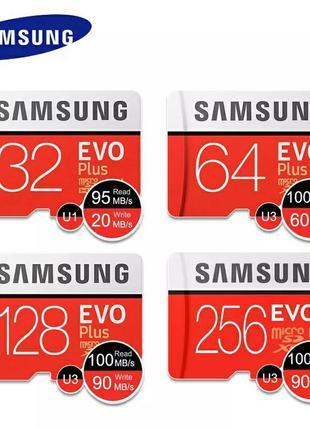 Карта памяти Samsung micro SDHC 64 128 256 GB EVO Plus Class 1...