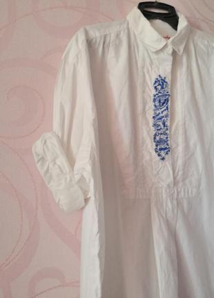 Белый объемный топ с вышивкой, оверсайз, винтаж, ретро, большо...