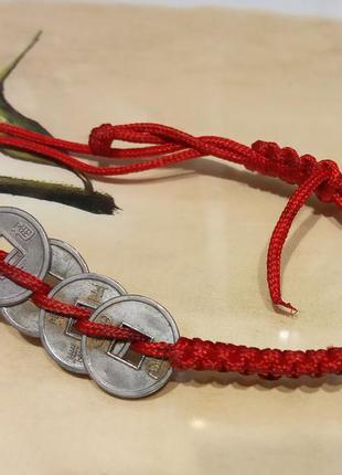 Плетеный браслет талисман, красная нить