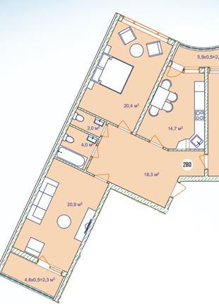 Трехкомнатная квартира в новом комплексе Аквамарин на Фонтане