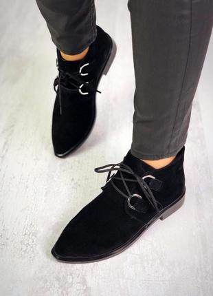 Осень натуральная замша люксовые ботиночки на шнурках с отрым ...