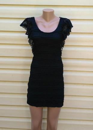 Платье черный гипюр devided