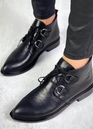 Осень натуральная кожа люксовые ботиночки на шнурках с отрым н...