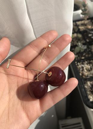 Новые серьги вишни сережки в виде красных вишен черешня