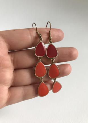 Серьги оранжевые красные висячие сережки летние