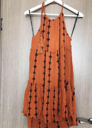 Оранжевое платье vero moda открытая спинка пляжное летнее нату...