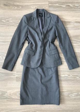 Классический костюм юбкой серый incity размер 40 s пиджак юбка
