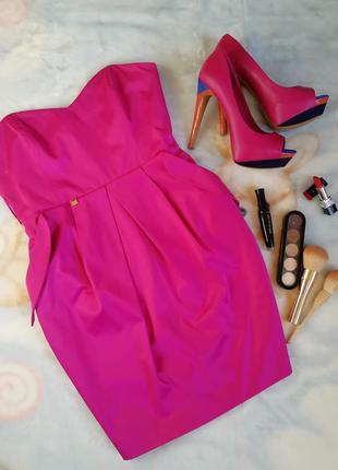 Стильное платье тюльпан river island розовое мини бандо сарафа...