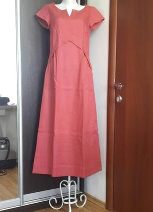 Летнее платье из льна season в стиле бохо цвет коралла