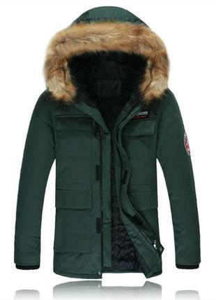Мужская зимняя удлинённая куртка swib, хаки