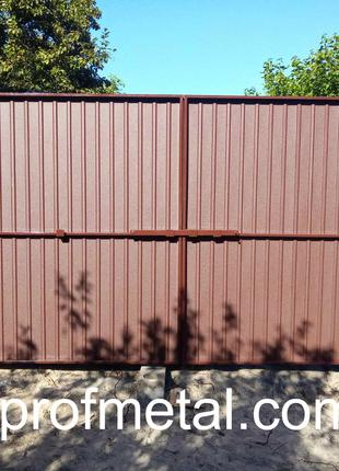 Ворота откатные из профнастила, Металлопрофиль на ворота.
