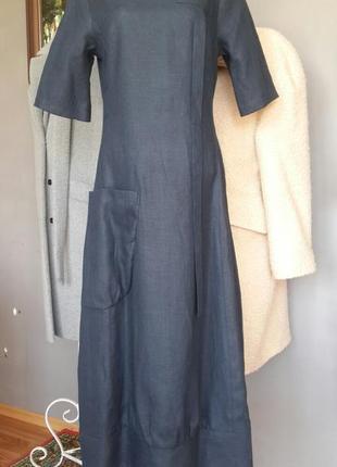 Стильное платье миди из льна season темно-синего цвета