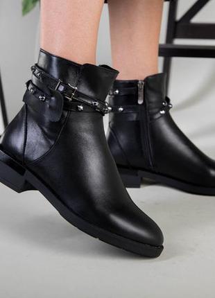 Ботинки женские демисезонные чёрные натуральная кожа удобный к...