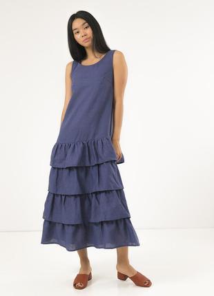 Летнее платье season сине-серое из льна с оборками