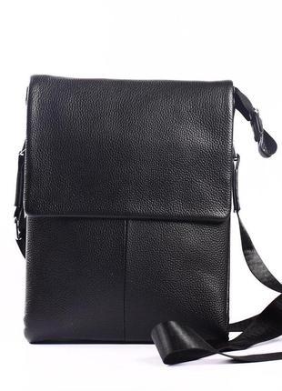 """Мужская кожаная сумка-планшет черная """"фуджио 3"""""""
