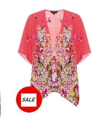 Цветочный летний жакет накидка кимоно в цветок zara new look xs s